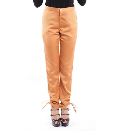 HEATHER silk trouser with ankle gathered in Orange
