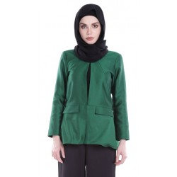 BAHIRA metallic back flaired blazer in Green