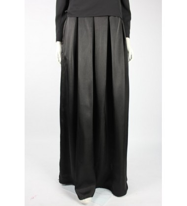 JADIE gathered satin skirt in Black