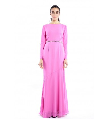 JULIYA Chiffon Beaded Dress in Pink