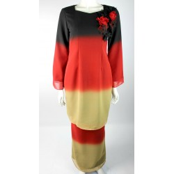 SAKURA modern kurung with applique in Red Black