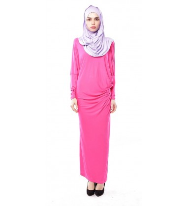 Latifa Draped Jersey Dress in fuschia pink