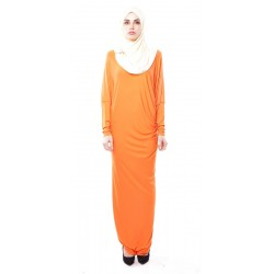 Latifa Draped Jersey Dress in Orange