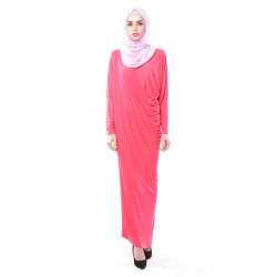 Latifa Draped Jersey Dress in Coral Pink
