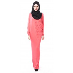 Latifa Draped Jersey Dress in Salmon Pink