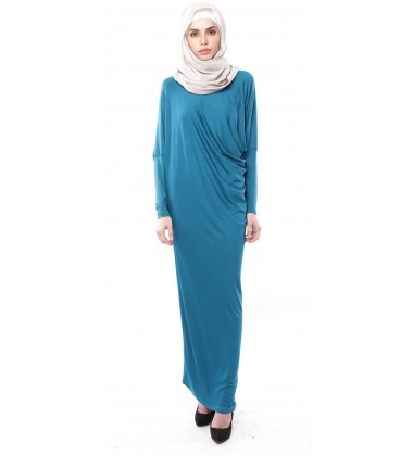 Latifa Draped Jersey Dress in Teal Blue
