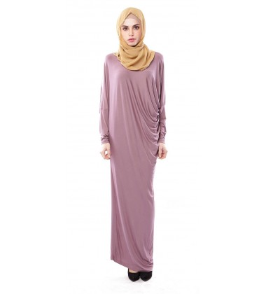 Latifa Draped Jersey Dress in Dusky Purple