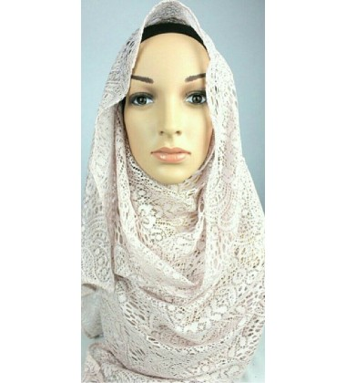 LILA big floral lace scarf in Soft Dusky Pink