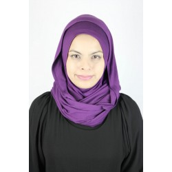 MARIAM soft jerdey twist tudung  in Dark Purple