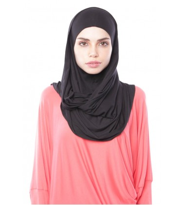 MARIAM Soft Jersey Knit Twist Tudung (c) in Black
