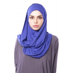 MARIAM Soft Jersey Knit Twist Tudung (c) in Blue