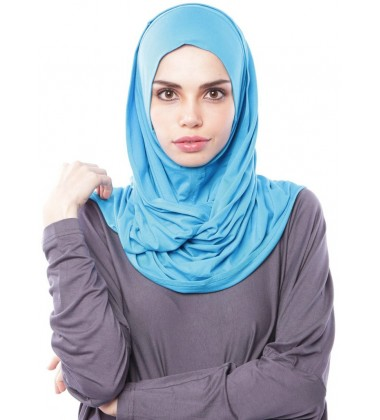 MARIAM Soft Jersey Knit Twist Tudung (c) in Bright Blue