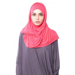 MARIAM Soft Jersey Knit Twist Tudung (c) in Coral Pink