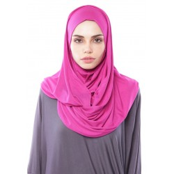 MARIAM Soft Jersey Knit Twist Tudung (d) in Dark Fuschia