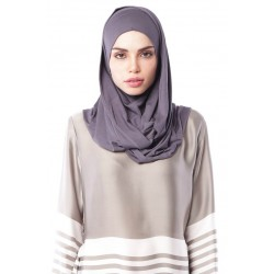 MARIAM Soft Jersey Knit Twist Tudung (c) in Dark Grey
