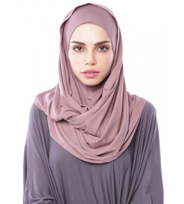 MARIAM Soft Jersey Knit Twist Tudung (c) in Dusky Purple