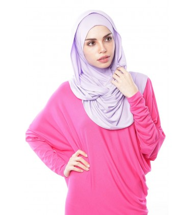 MARIAM Soft Jersey Knit Twist Tudung (c) in Lilac