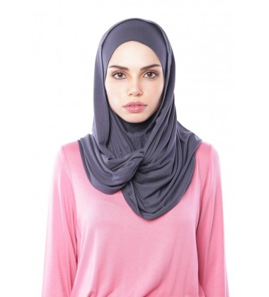MARIAM Soft Jersey Knit Twist Tudung (c) in Metal Grey