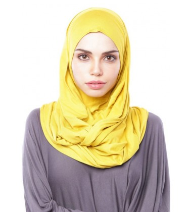 MARIAM Soft Jersey Knit Twist Tudung (d) in Mustard