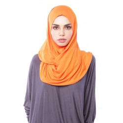 MARIAM Soft Jersey Knit Twist Tudung (c) in Orange