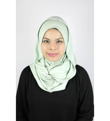 MARIAM jersey knit twist tudung in Pastel Green (thick material)
