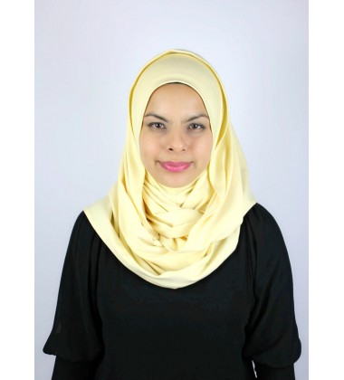 MARIAM jersey knit twist tudung in Pastel Yellow (thick material)