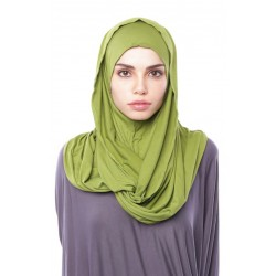 MARIAM Soft Jersey Knit Twist Tudung (d) in Pear Green