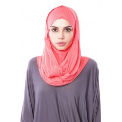 MARIAM Soft Jersey Knit Twist Tudung (c) in Salmon Pink
