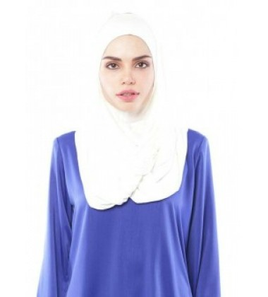 MARIAM Soft Jersey Knit Twist Tudung (c) in White
