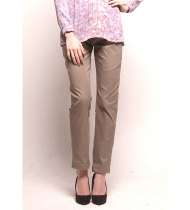 MYESHA twill cotton pants in Light Olive