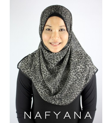 Melati Chiffon Printed Shawl/Tudung in Black