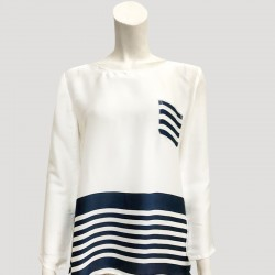 Tara Satin Silk Striped Pocket Blouse in Blue/White