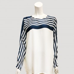 Yara Satin Silk Stripe Sleeve IN WHITE/BLUE