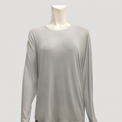SADIE PLAIN JERSEY TOP IN LIGHT GREY