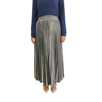Metallic Pleated Skirt in Silver