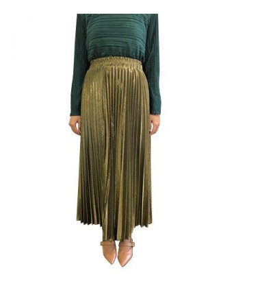 Metallic Pleated Skirt in Gold