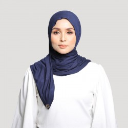INARA JERSEY SCARF IN NAVY BLUE