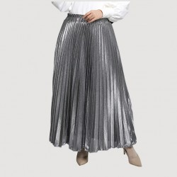 Isla Metallic Pleated Skirt in Silver