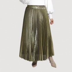 Isla Metallic Pleated Skirt in Gold
