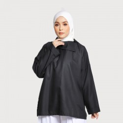 JASMINE SLOUCHY COLLAR COTTON TOP IN BALCK