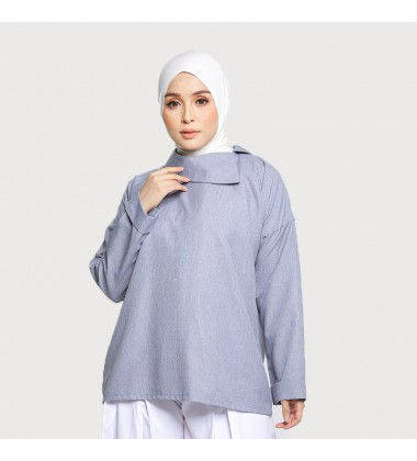JASMINE SLOUCHY COLLAR COTTON TOP IN GREY