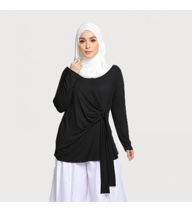 LEXIA DRAPED TIE JERSEY TOP IN BLACK