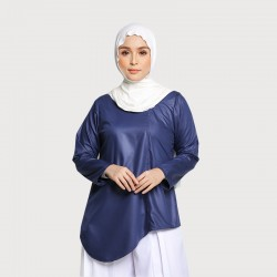 SAFIRA ASYMMETRICAL COTTON TOP IN NAVY BLUE