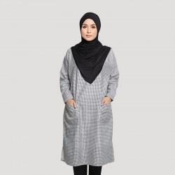 KENNA GINGHAM COTTON TUNIC IN BLACK/WHITE