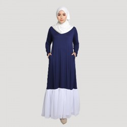 MAISSA COTTON JERSEY WITH CHIFFON MAXI DRESS