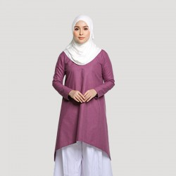 MARWA COTTON ASYMMETRICAL TUNIC IN PURPLE