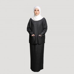 JAMILA COTTON JERSEY TOP AND SKIRT SET IN BLACK