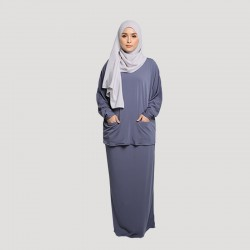 JAMILA COTTON JERSEY TOP AND SKIRT SET IN DARK GREY