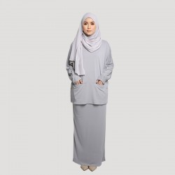 JAMILA COTTON JERSEY TOP AND SKIRT SET IN LIGHT GREY