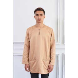 IDRIS FRONT HIDDEN POCKET KURTA in Brown
